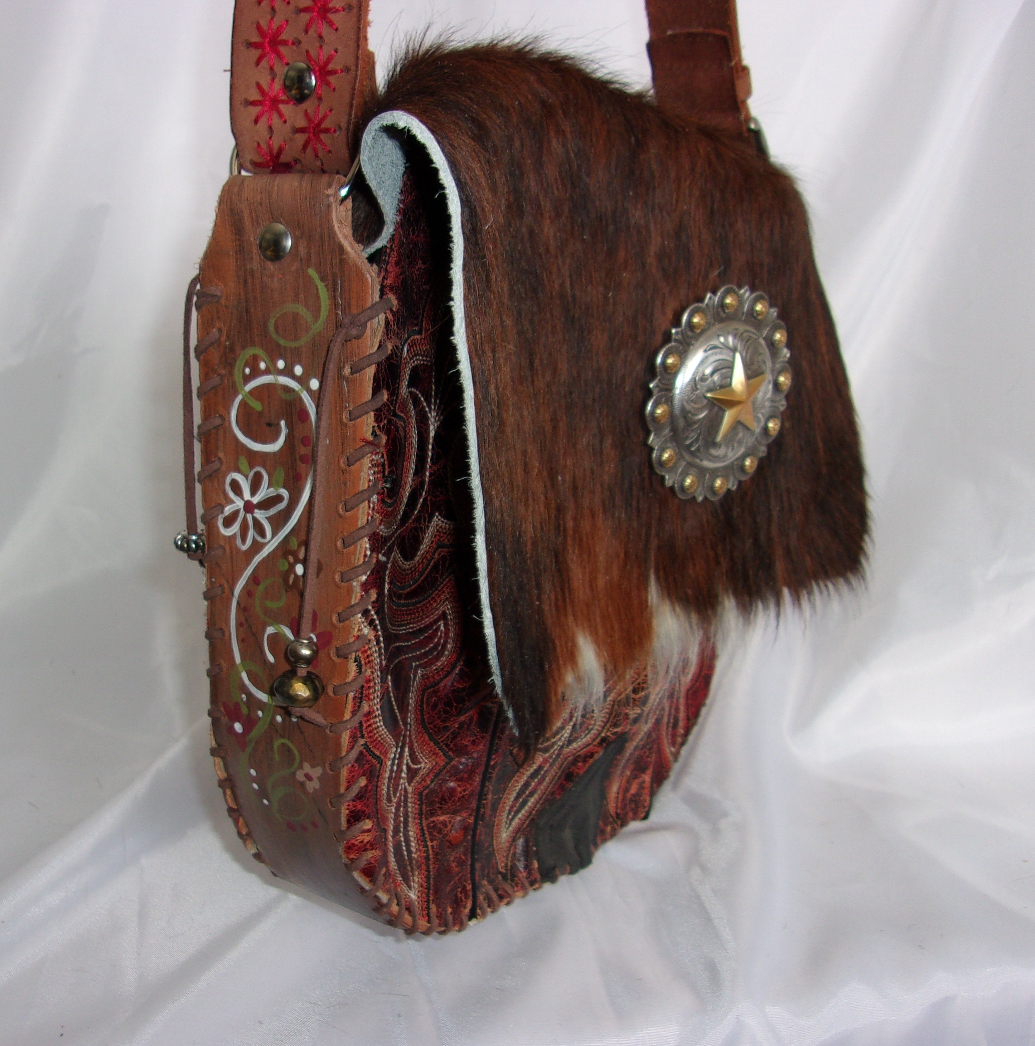 Hair-on-Hide Hand-Painted Flap Top Bag SB07 - Cowboy Boot Purses by Chris Thompson for Distinctive Western Fashion