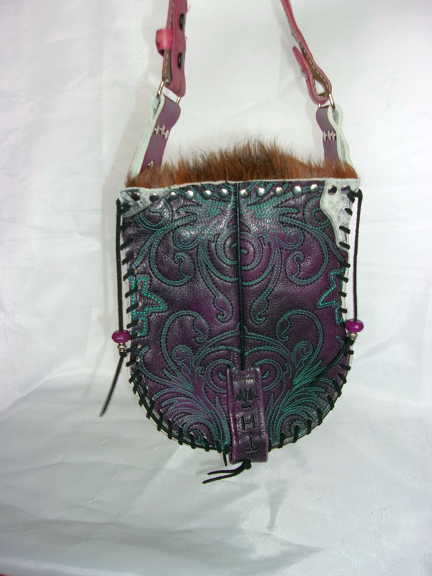 Hair-on-Hide Hand-Painted Flap Top Bag SB10 - Cowboy Boot Purses by Chris Thompson for Distinctive Western Fashion