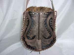 Hair-on-Hide Hand-Painted Flap Top Bag SB12 - Cowboy Boot Purses by Chris Thompson for Distinctive Western Fashion