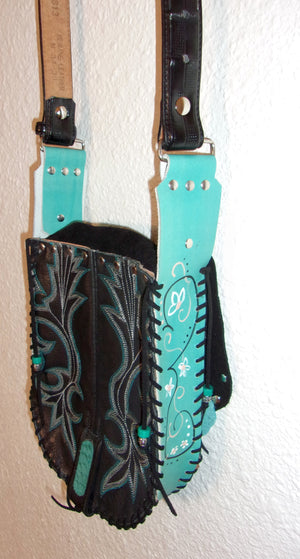 Hair-on-Hide Hand-Painted Flap Top Bag SB13 - Cowboy Boot Purses by Chris Thompson for Distinctive Western Fashion