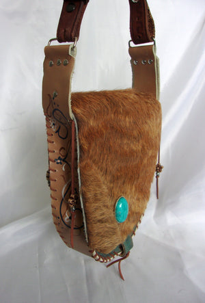 Hair-on-Hide Hand-Painted Flap Top Bag SB14 - Cowboy Boot Purses by Chris Thompson for Distinctive Western Fashion