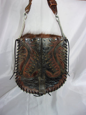 Hair-on-Hide Hand-Painted Flap Top Bag SB17 - Cowboy Boot Purses by Chris Thompson for Distinctive Western Fashion