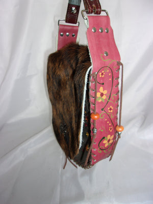 Hair-on-Hide Hand-Painted Flap Top Bag SB18 - Cowboy Boot Purses by Chris Thompson for Distinctive Western Fashion
