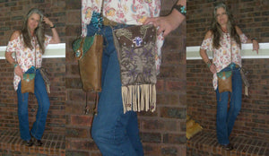 small leather crossbody purses with fringe made from cowboy boots