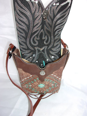 Small Cowboy Boot Cross-Body Purse sw11 - Cowboy Boot Purses by Chris Thompson for Distinctive Western Fashion