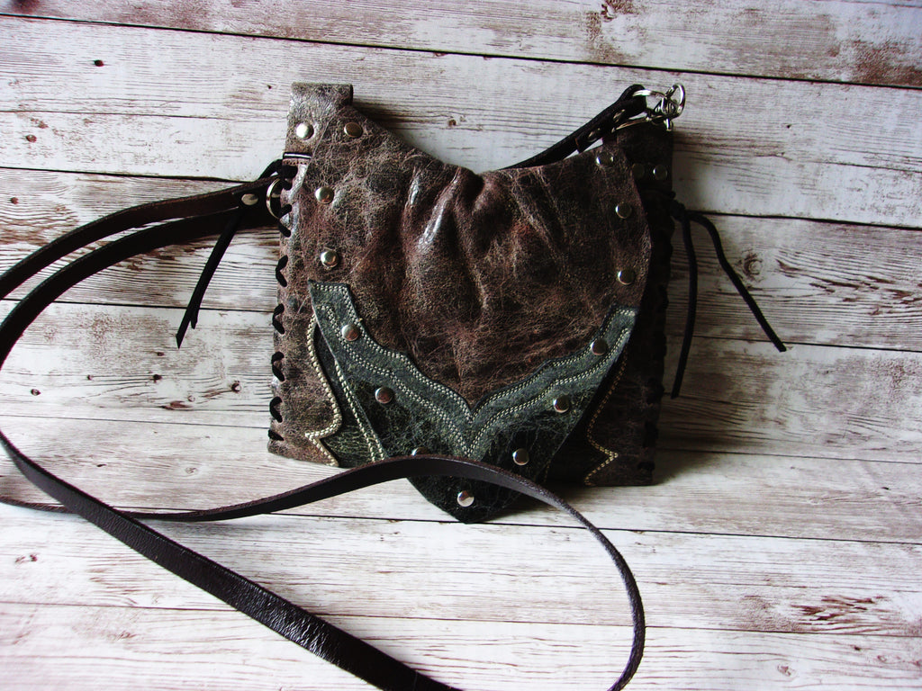 Small Cowboy Boot Purse - Western Crossbody Bag - Handcrafted Hipster SB25 cowboy boot purses, western fringe purse, handmade leather purses, boot purse, handmade western purse, custom leather handbags Chris Thompson Bags