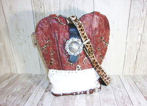 Red Cheetah Leather Western Shoulder Bag TS204