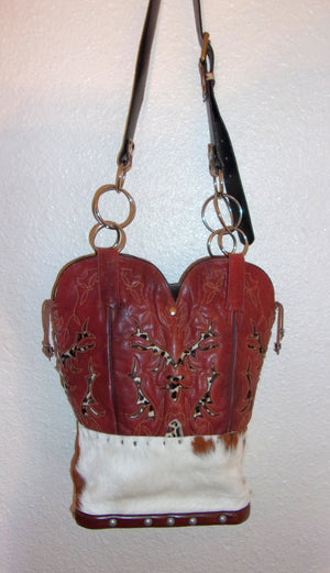 Red Cheetah Leather Western Shoulder Bag TS204 - Distinctive Western Handbags, Purses and Totes