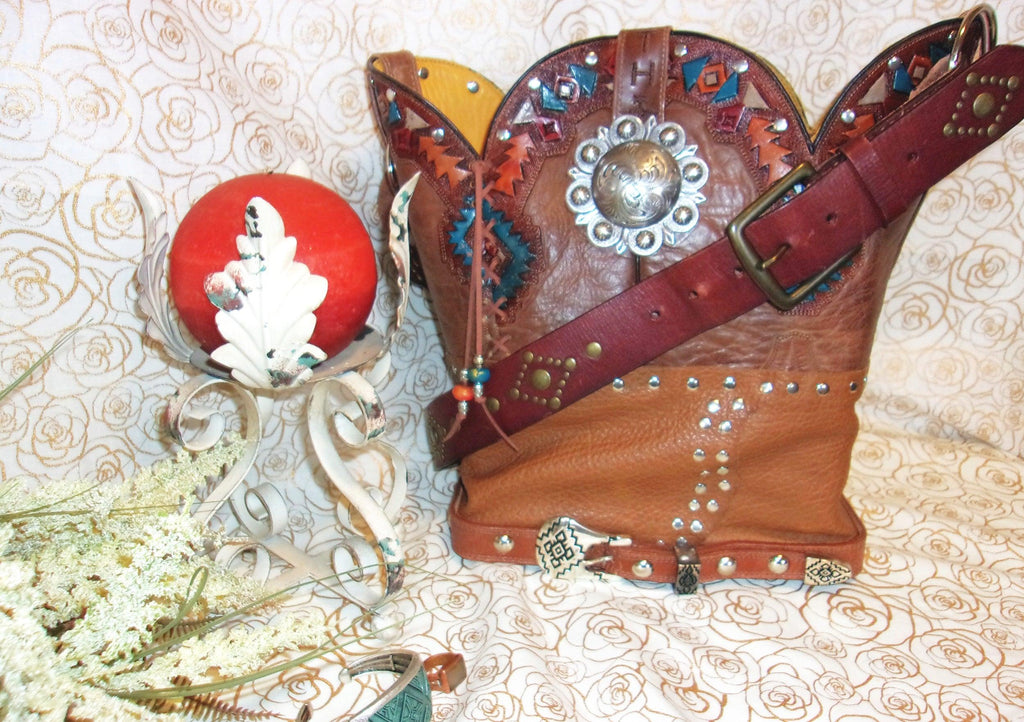 Santa Fe Tooled Leather Shoulder Bag TS243 - Cowboy Boot Purses by Chris Thompson for Distinctive Western Fashion