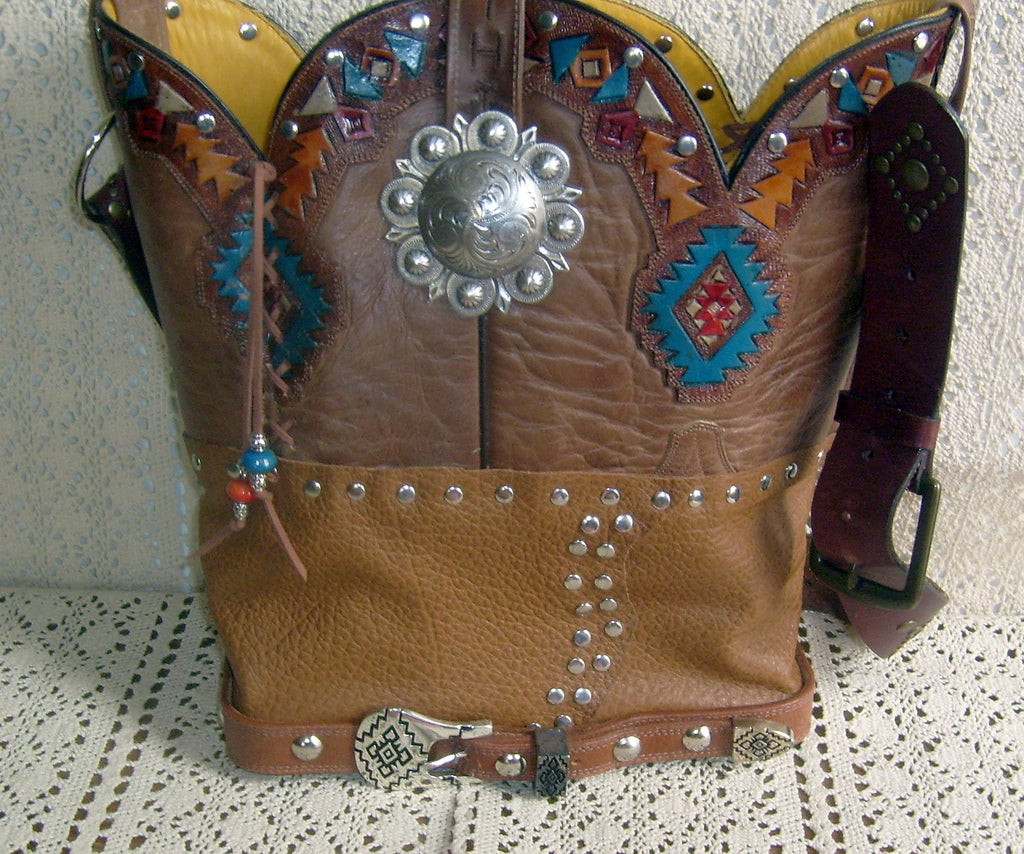 ts243 santa fe southwest unique leather handbag handcrafted from reclaimed recycled cowboy boots