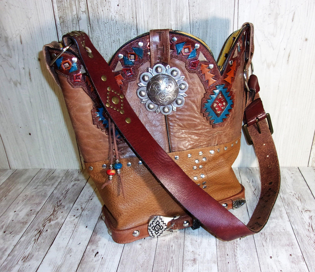 Handmade Leather Purse - Cowboy Boot Purse - Western Leather Purse TS243