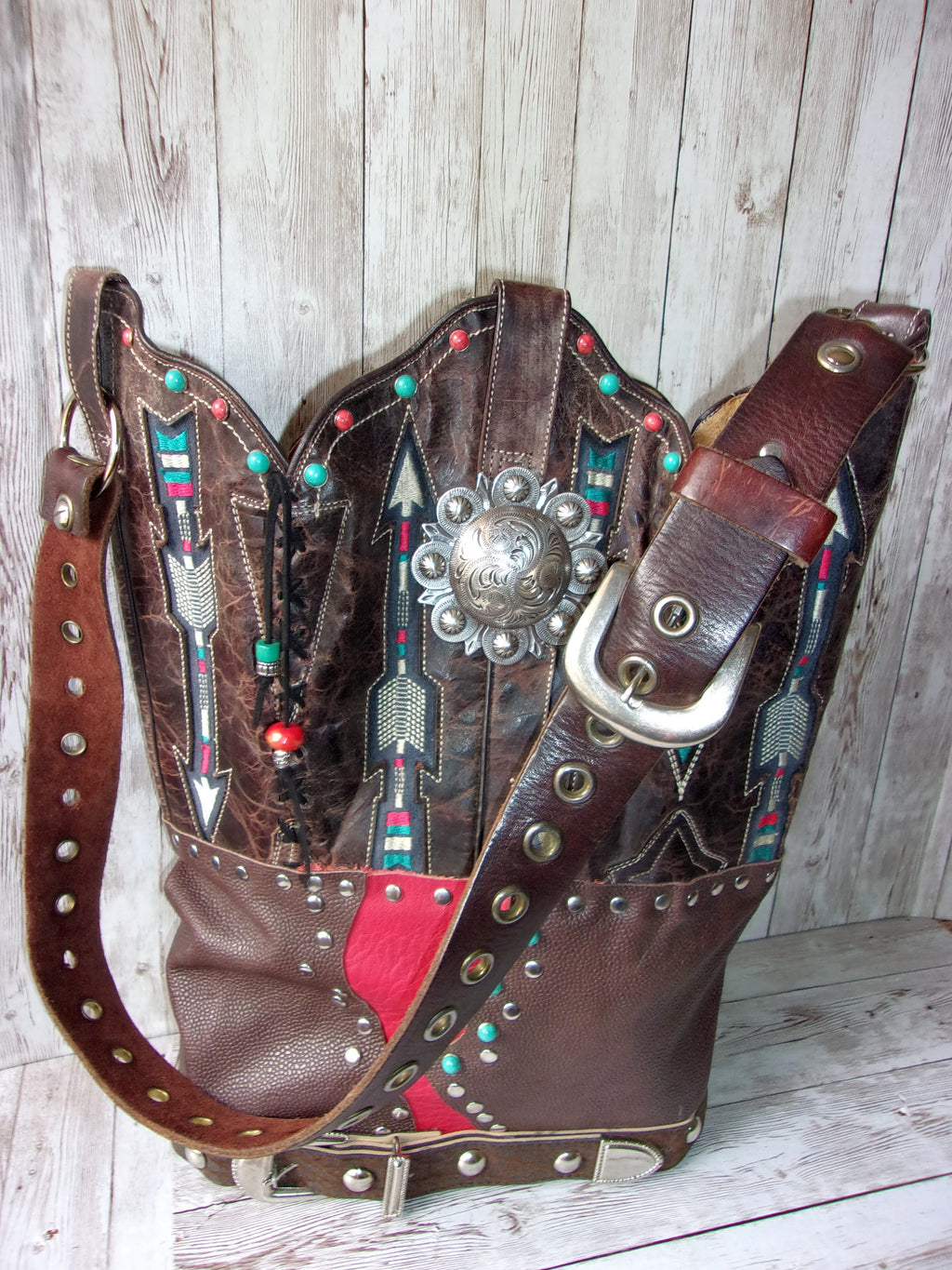 Santa Fe Arrows Leather Shoulder Bag TS252 - Cowboy Boot Purses by Chris Thompson for Distinctive Western Fashion