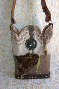 ts257 texas longhorn unique handcrafted leather handbag made from recycled cowboy boots