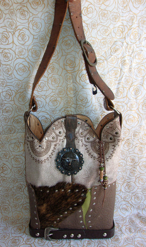 front of ts257 texas longhorn unique handcrafted leather handbag made from recycled cowboy boots