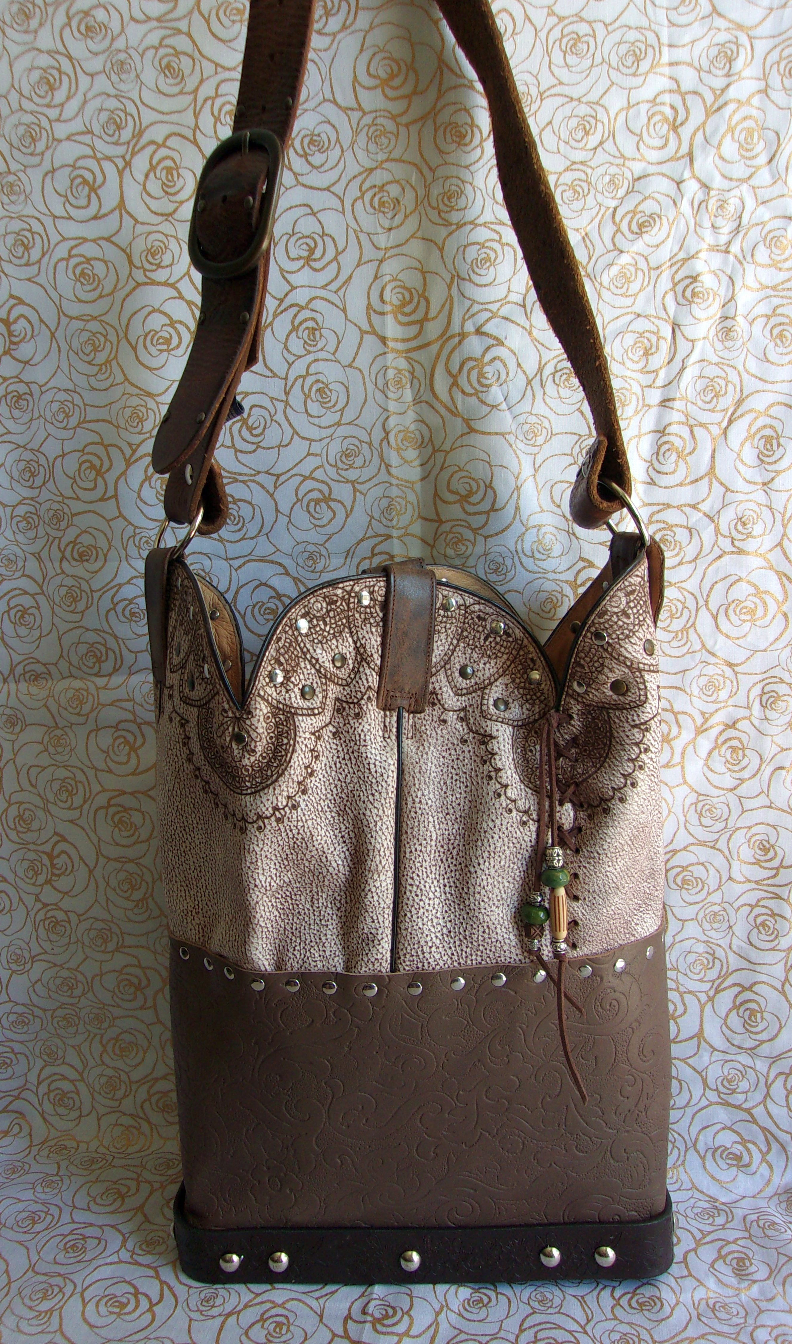 Longhorn Leather Shoulder Bag TS257 - Unique Leather Handbags and Totes by Chris Thompson