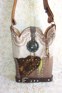 Longhorn Leather Shoulder Bag TS257 - Cowboy Boot Purses by Chris Thompson for Distinctive Western Fashion
