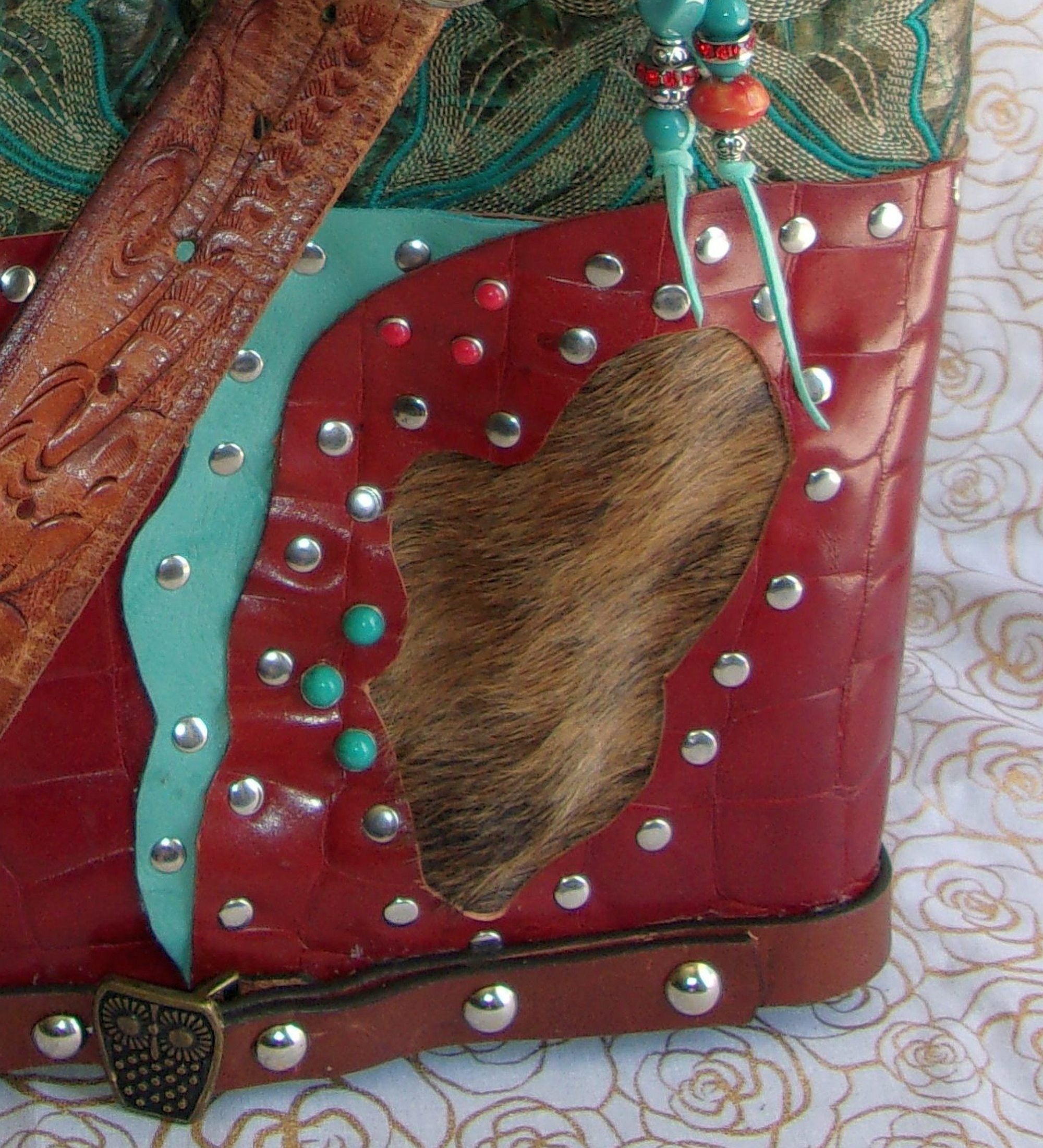 Jade n Red Leather Shoulder Bag TS259 - Cowboy Boot Purses by Chris Thompson for Distinctive Western Fashion