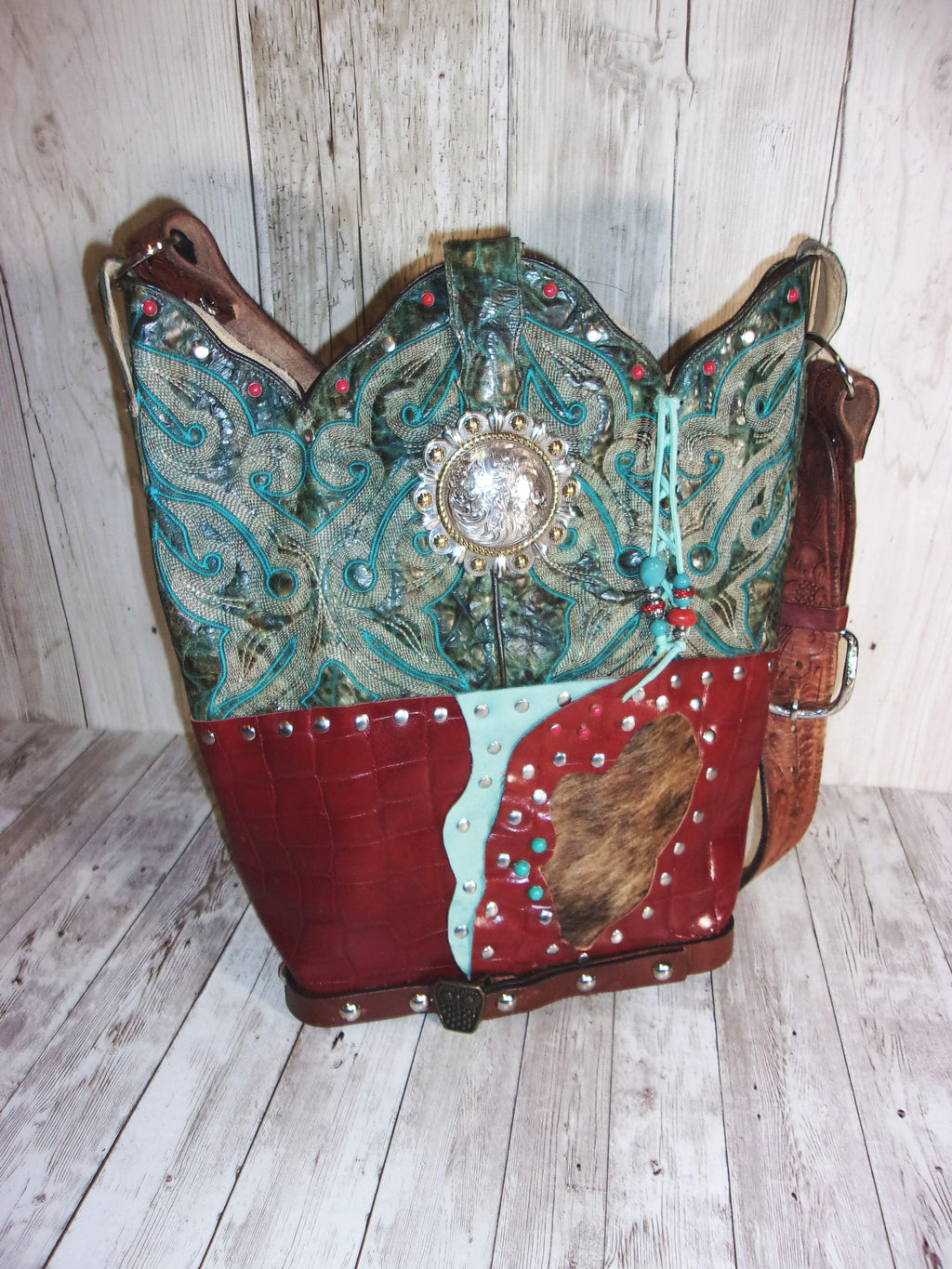Handmade Leather Purse - Cowboy Boot Purse - Western Leather Purse TS259