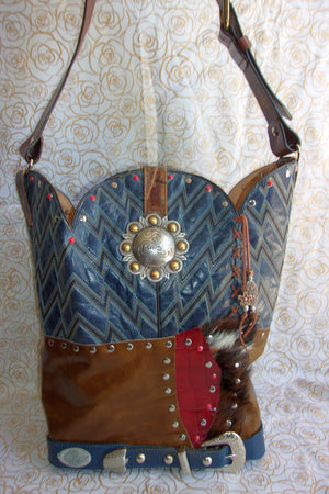 front of ts260 unique blue leather handbag handcrafted from reclaimed recycled cowboy boots