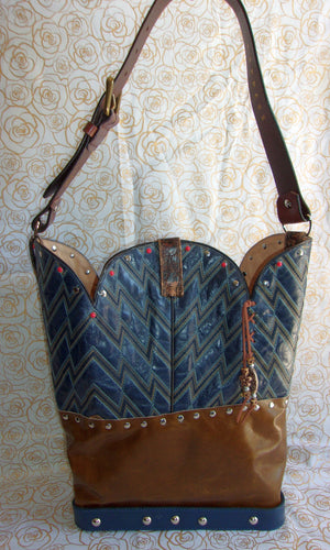 back of ts260 unique blue leather handbag handcrafted from reclaimed recycled cowboy boots