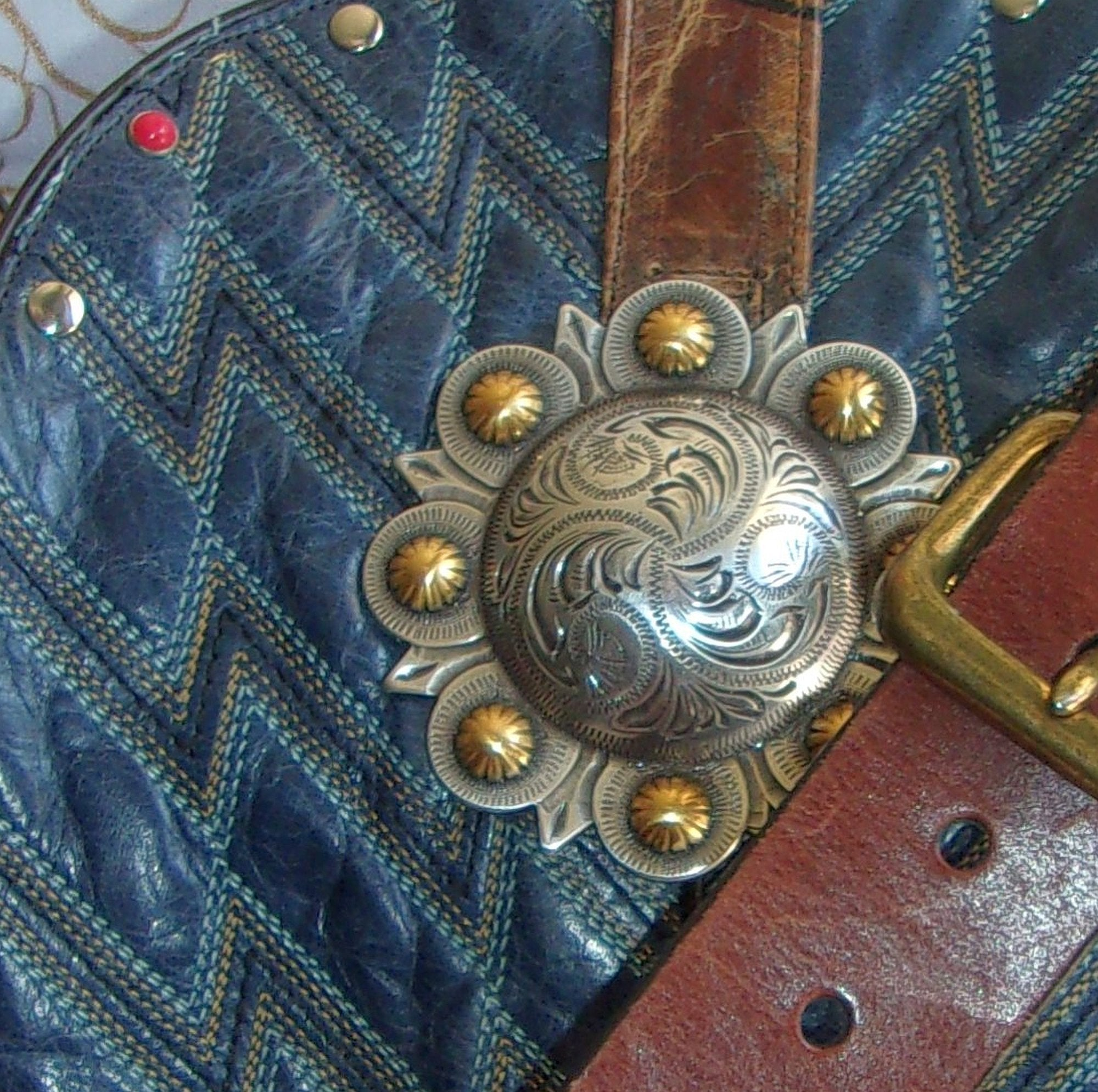close up ts260 unique blue leather handbag handcrafted from reclaimed recycled cowboy boots