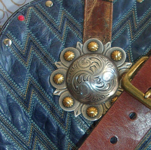 Blue Leather Shoulder Bag TS260 - Cowboy Boot Purses by Chris Thompson for Distinctive Western Fashion
