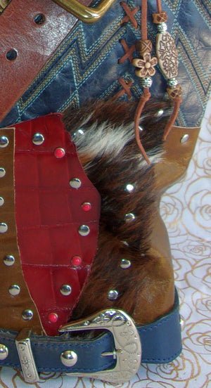 close view of ts260 unique blue leather handbag handcrafted from reclaimed recycled cowboy boots