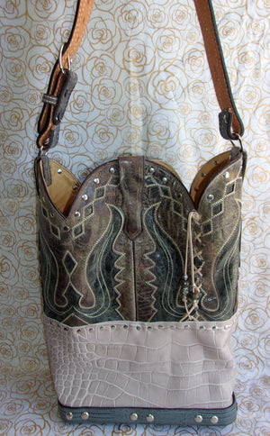back of ts261 unique gray western leather handbag handcrafted from reclaimed recycled cowboy boots