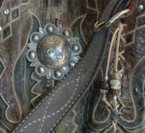 close up of ts261 unique gray western leather handbag handcrafted from reclaimed recycled cowboy boots
