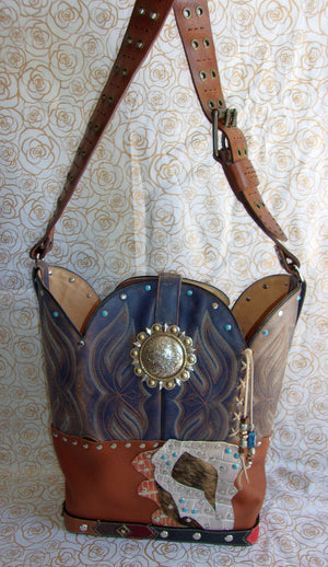 front of ts263 western leather handbag handcrafted from reclaimed recycled cowboy boots