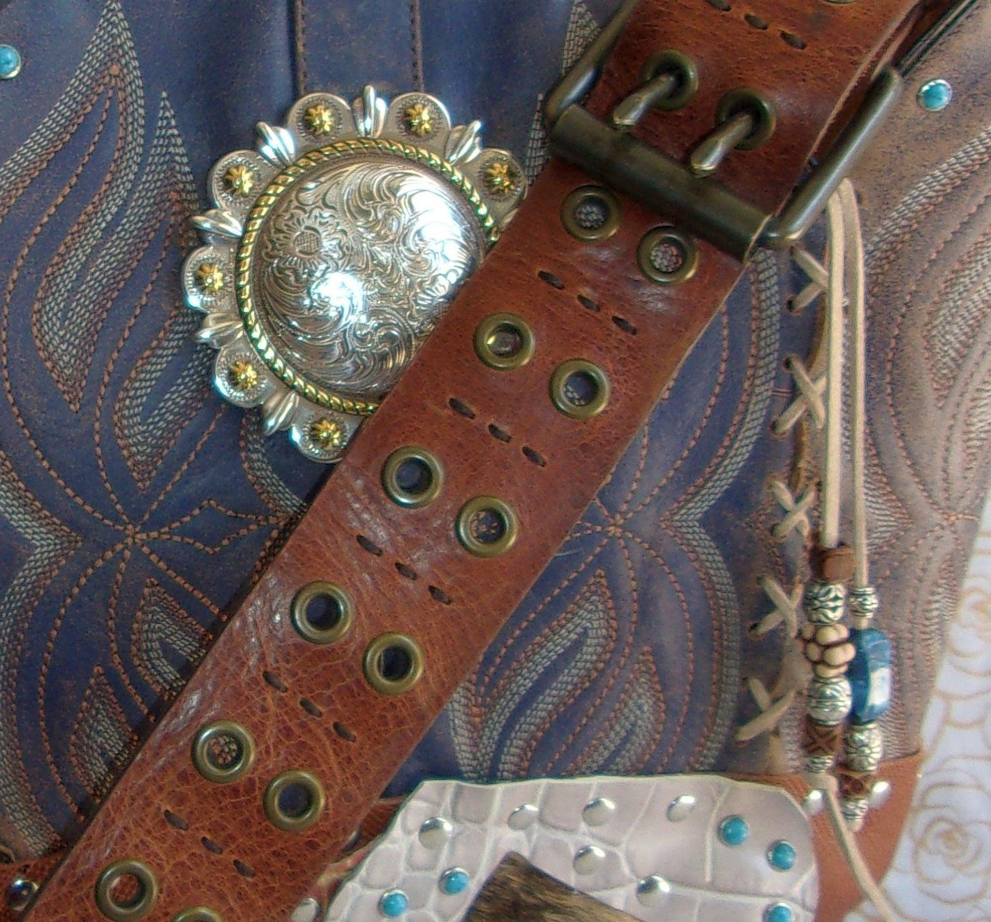close up ts263 western leather handbag handcrafted from reclaimed recycled cowboy boots