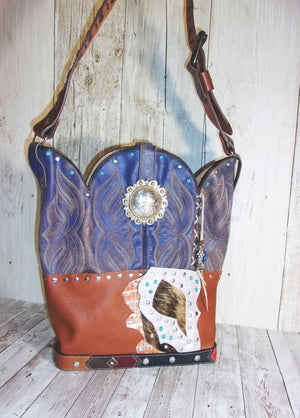 Handmade Leather Purse - Cowboy Boot Purse - Western Leather Purse TS263