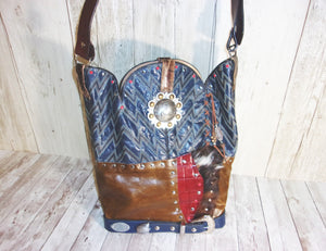 Blue Leather Western Shoulder Bag Cowboy Boot PurseTS260