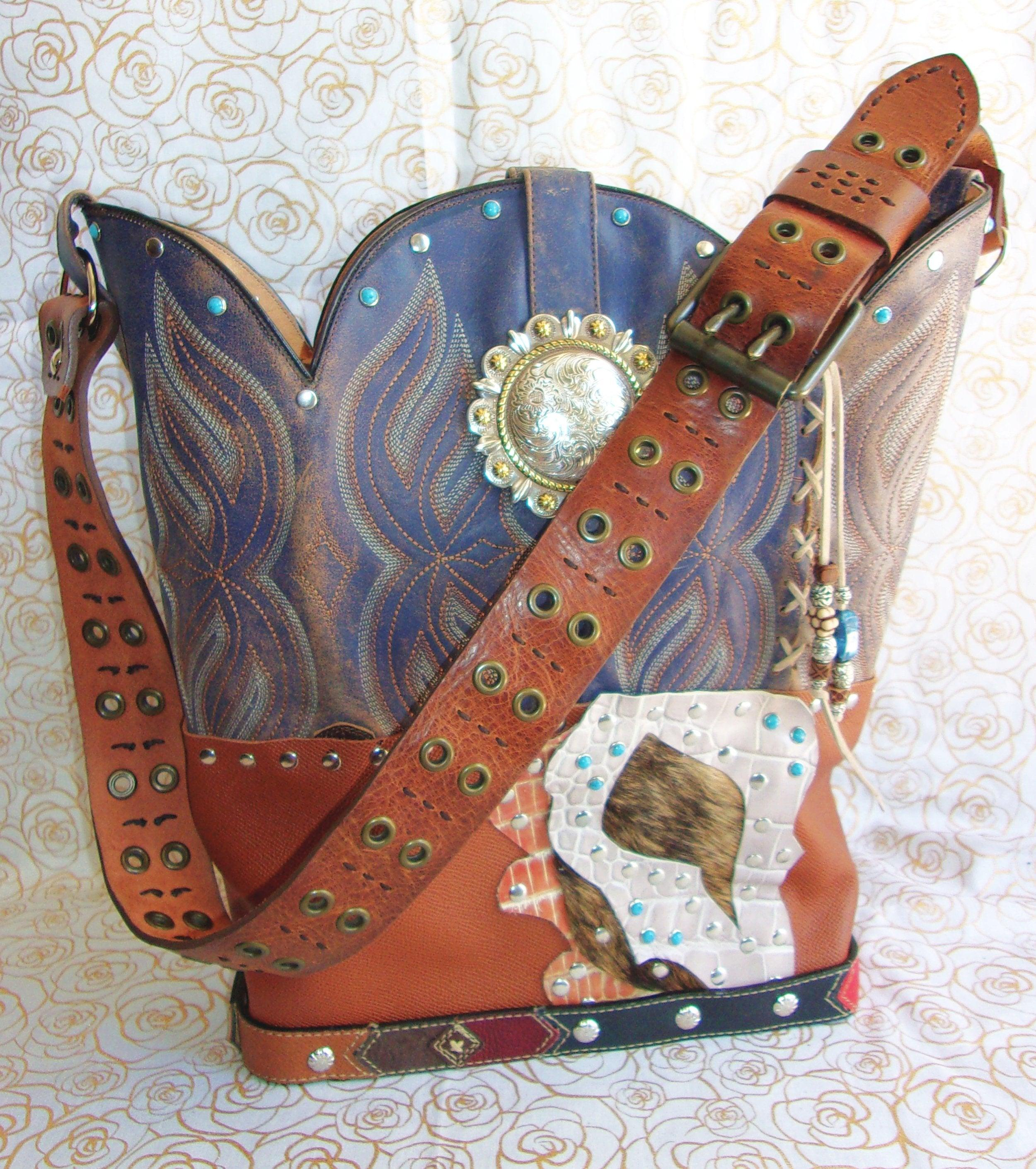 Western Casual Shoulder Bag TS263 - Cowboy Boot Purses by Chris Thompson for Distinctive Western Fashion