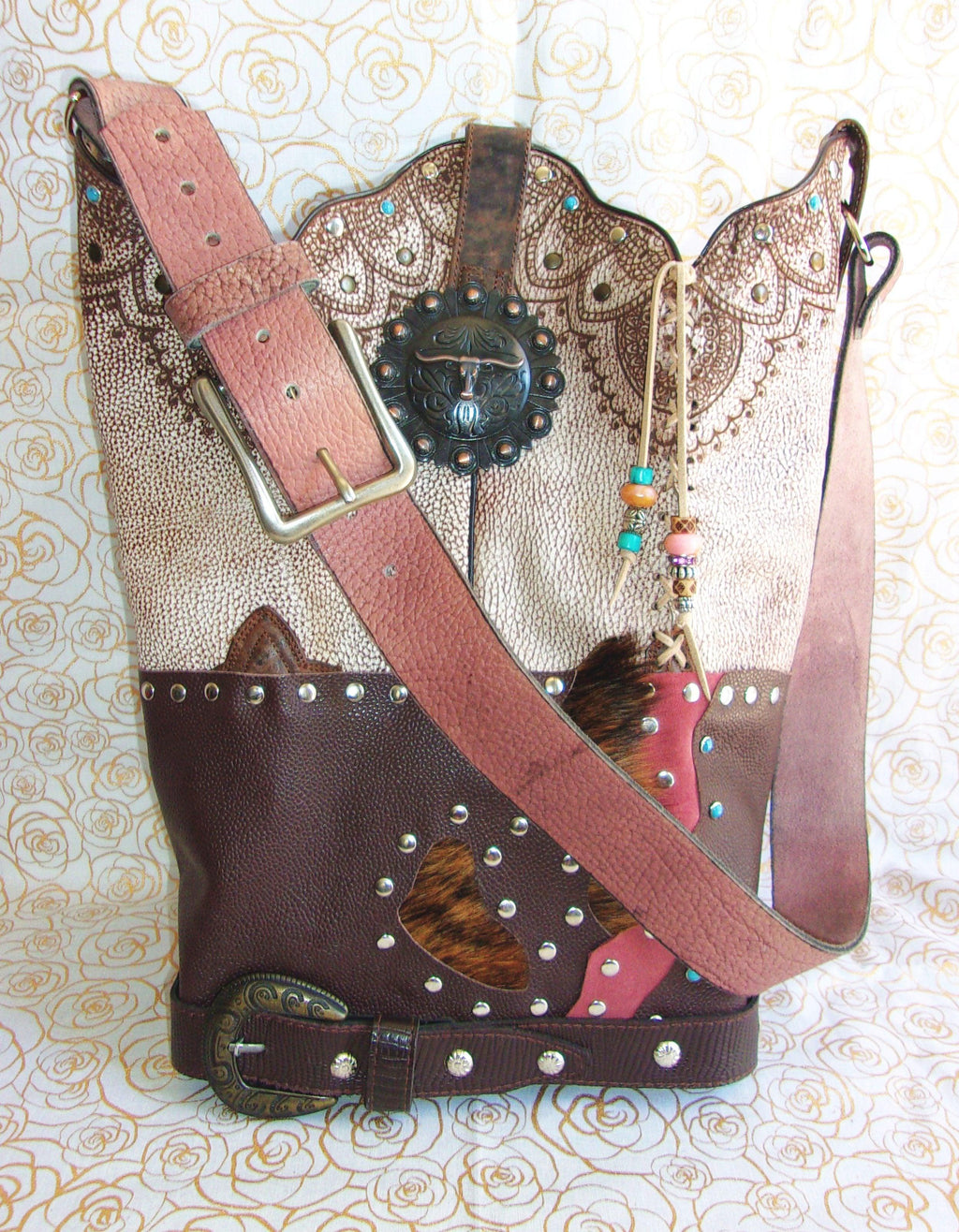 Western Longhorn Shoulder Bag TS264 - Cowboy Boot Purses by Chris Thompson for Distinctive Western Fashion