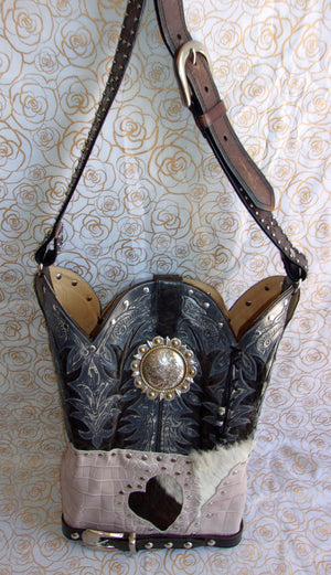 front of ts266 hair on hide unique leather handbag handcrafted from reclaimed recycled cowboy boots