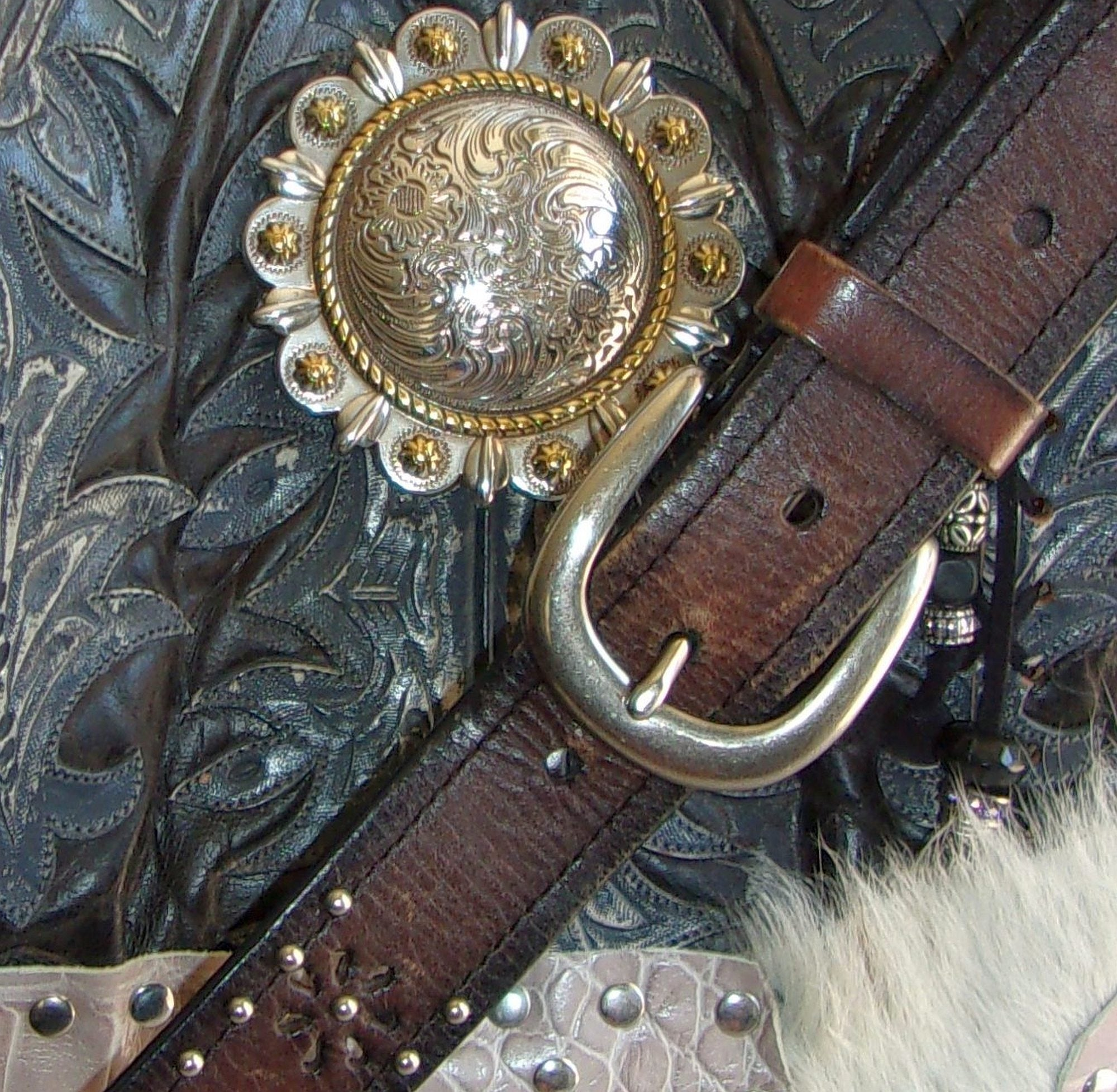 close up of ts266 hair on hide unique leather handbag handcrafted from reclaimed recycled cowboy boots