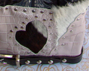 bottom of ts266 hair on hide unique leather handbag handcrafted from reclaimed recycled cowboy boots