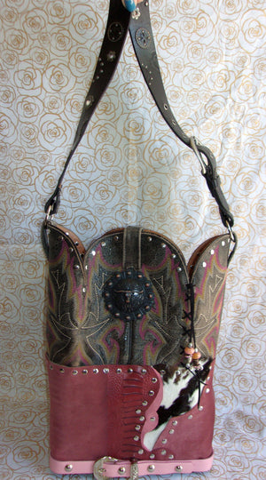 front of ts267 hair on hide longhorn unique leather handbag handcrafted from reclaimed recycled cowboy boots