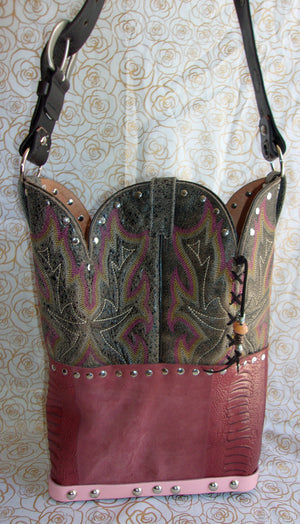 back of ts267 hair on hide longhorn unique leather handbag handcrafted from reclaimed recycled cowboy boots