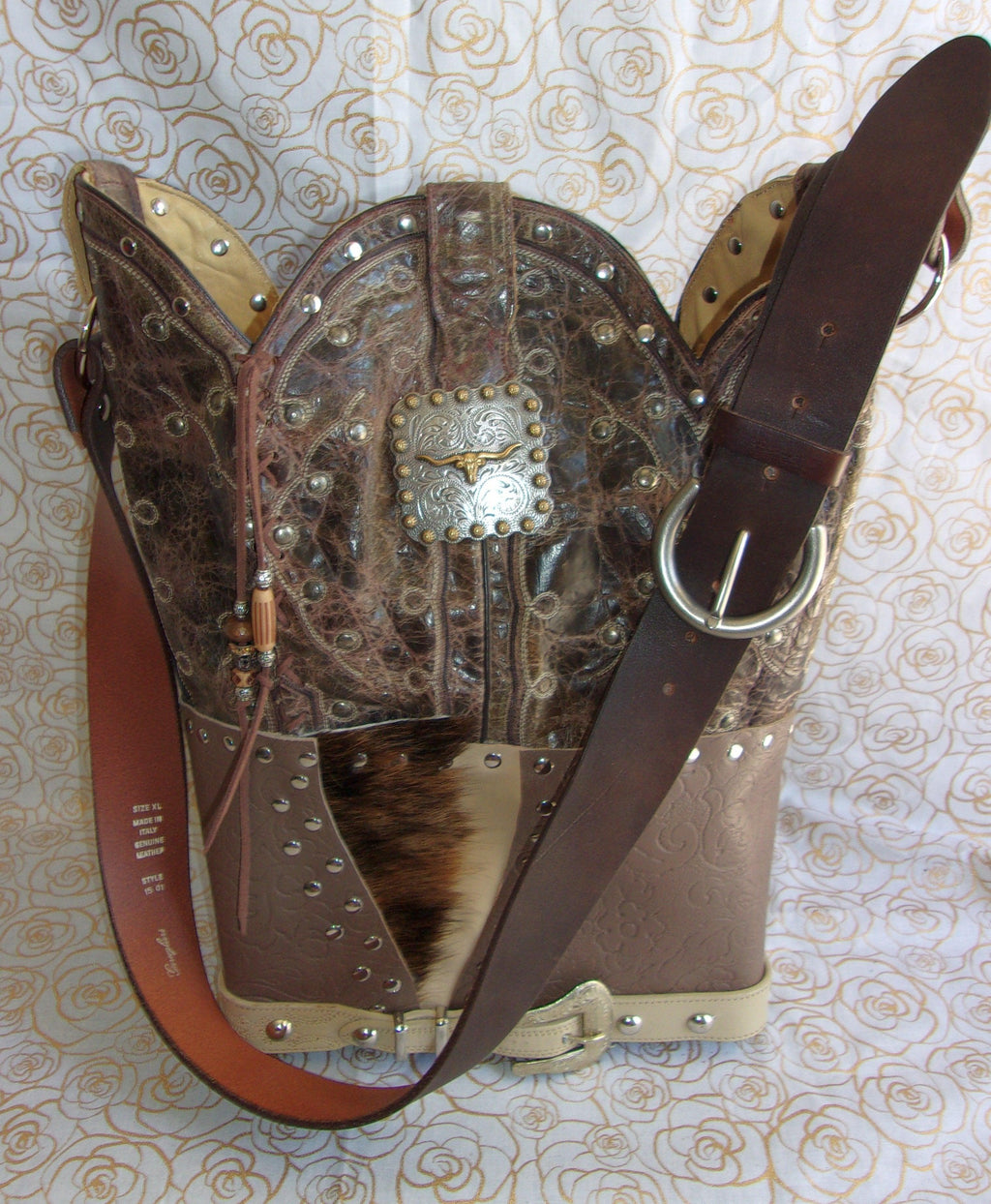 ts270 unique leather western handbag handcrafted into cowboy boot purse from recycled cowboy boots