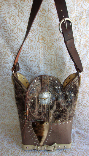 ts270 unique leather western longhorn handbag handcrafted into cowboy boot purse from recycled cowboy boots