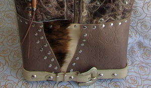bottom of ts270 unique leather western longhorn handbag handcrafted into cowboy boot purse from recycled cowboy boots