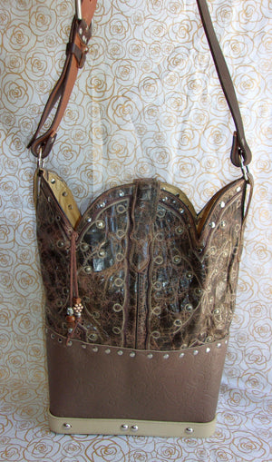 back of ts270 unique leather western longhorn handbag handcrafted into cowboy boot purse from recycled cowboy boots