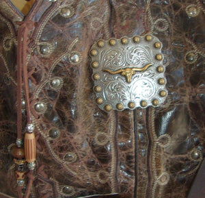 close up ts270 unique leather western longhorn handbag handcrafted into cowboy boot purse from recycled cowboy boots