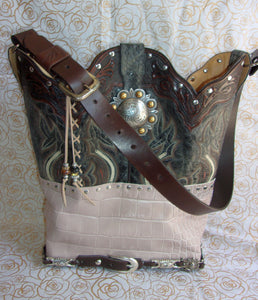 ts272 unique tooled leather handbag handcrafted into cowboy boot purse from recycled cowboy boots
