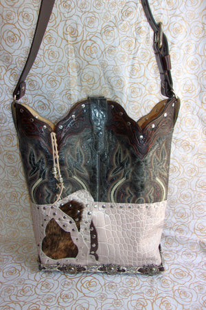 Tooled Leather Croc Shoulder Bag TS272 - Cowboy Boot Purses by Chris Thompson for Distinctive Western Fashion