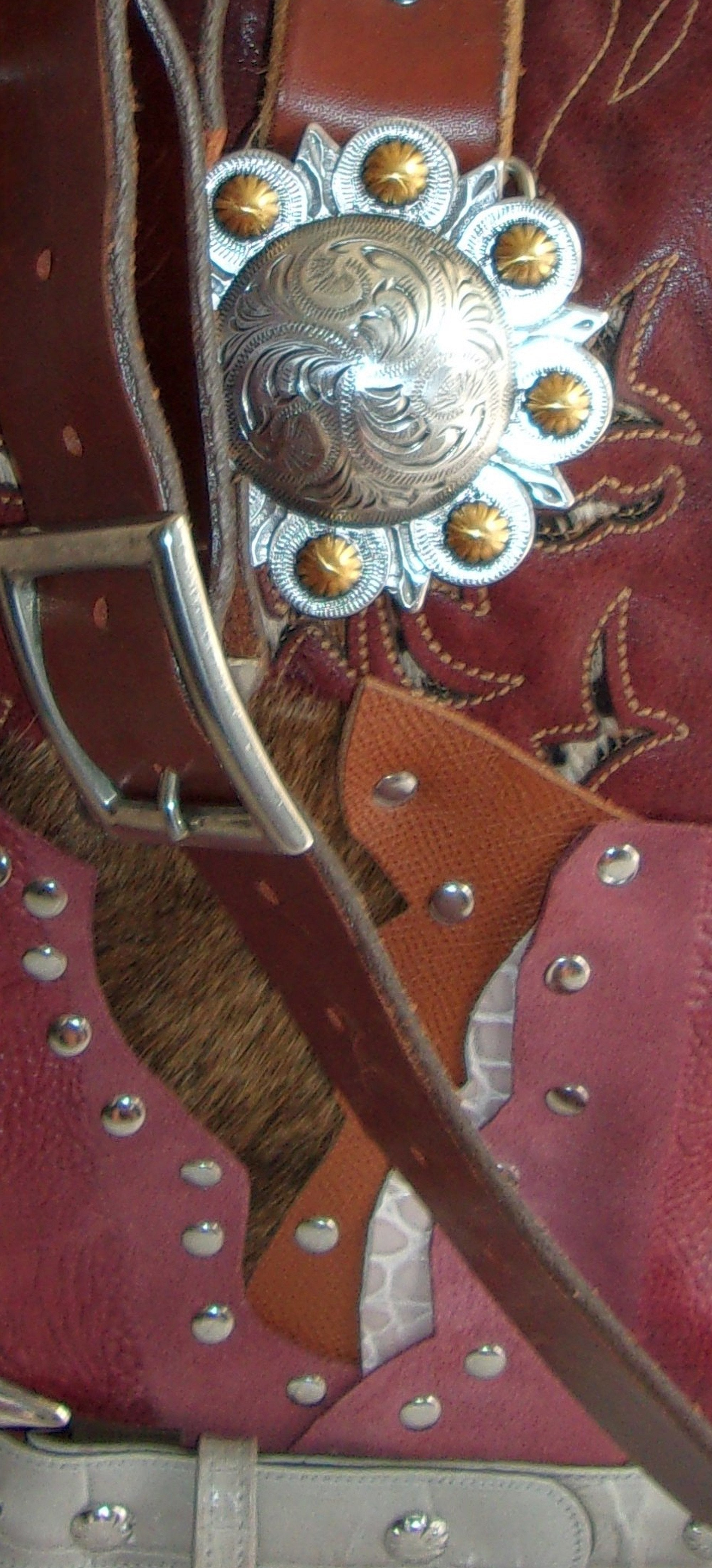 close up of ts274 red leather cheetah pattern unique leather purse handcrafted from recycled reclaimed cowboy boots