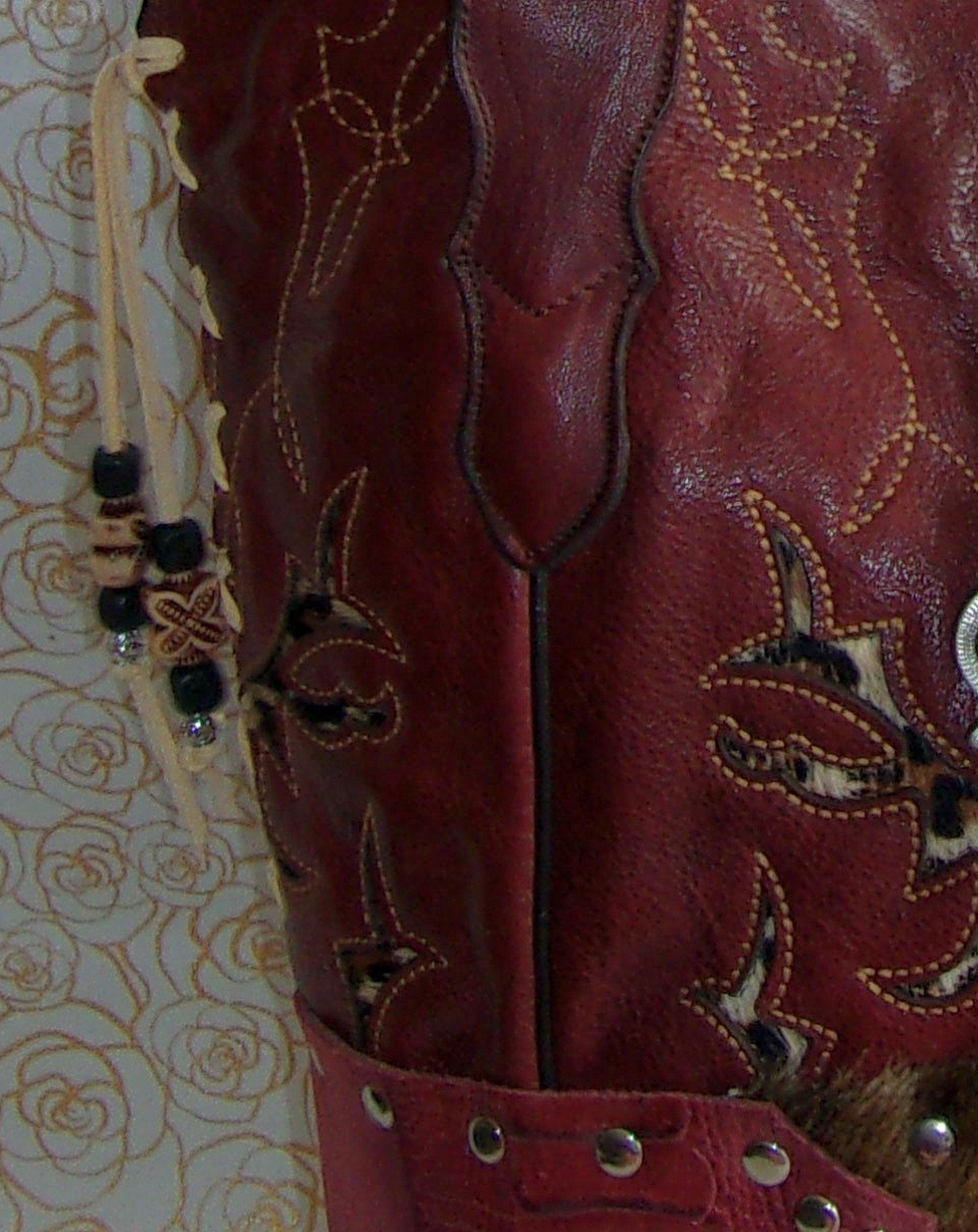 close view of ts274 red leather cheetah pattern unique leather purse handcrafted from recycled reclaimed cowboy boots