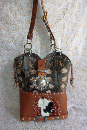 front of ts277 black and brown floral pattern unique leather hair on hide purse handcrafted from recycled reclaimed cowboy boots